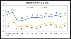 12月CPI同比上涨 1.8% 全年涨幅回落至1.6%